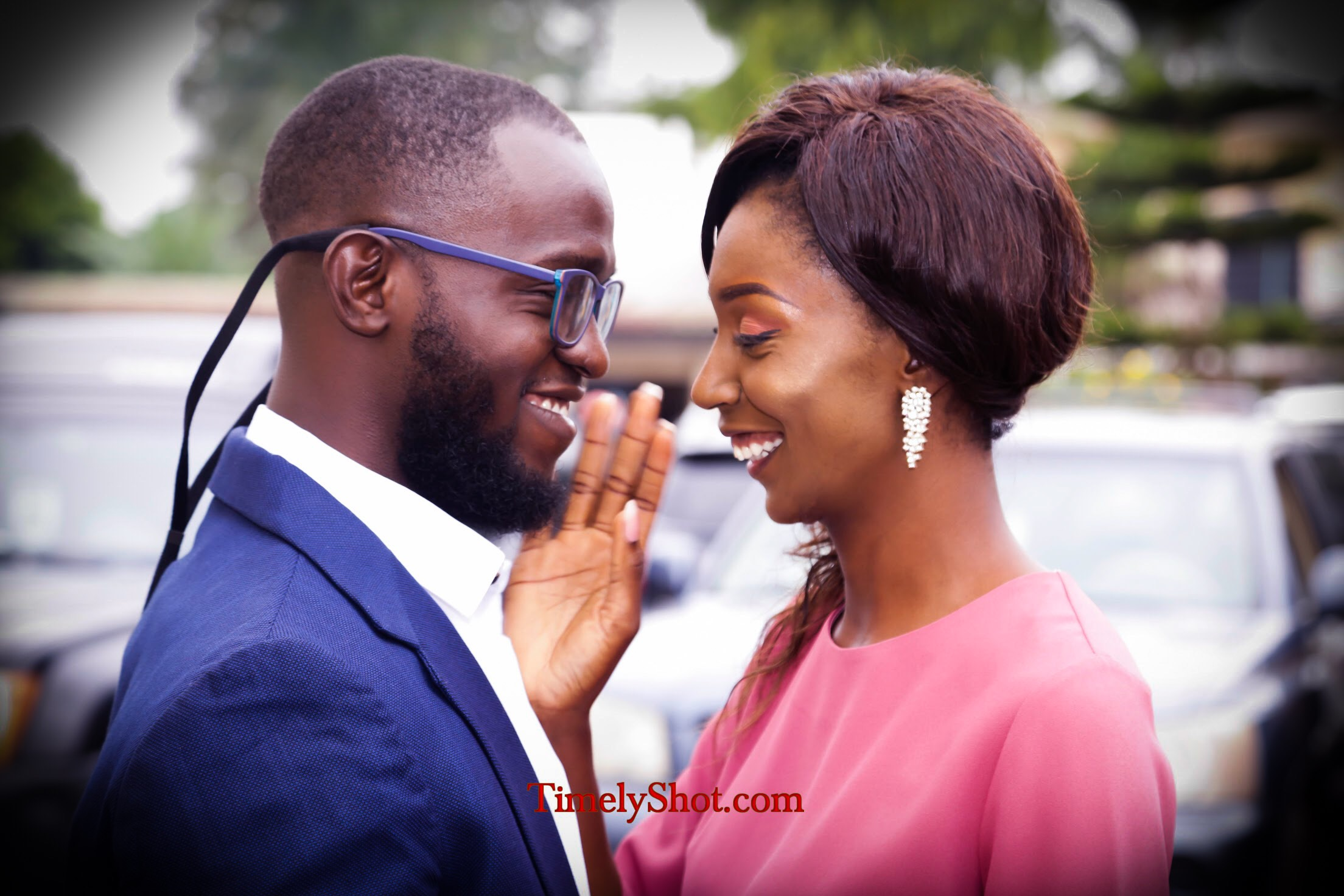 Couple about to wed smiling