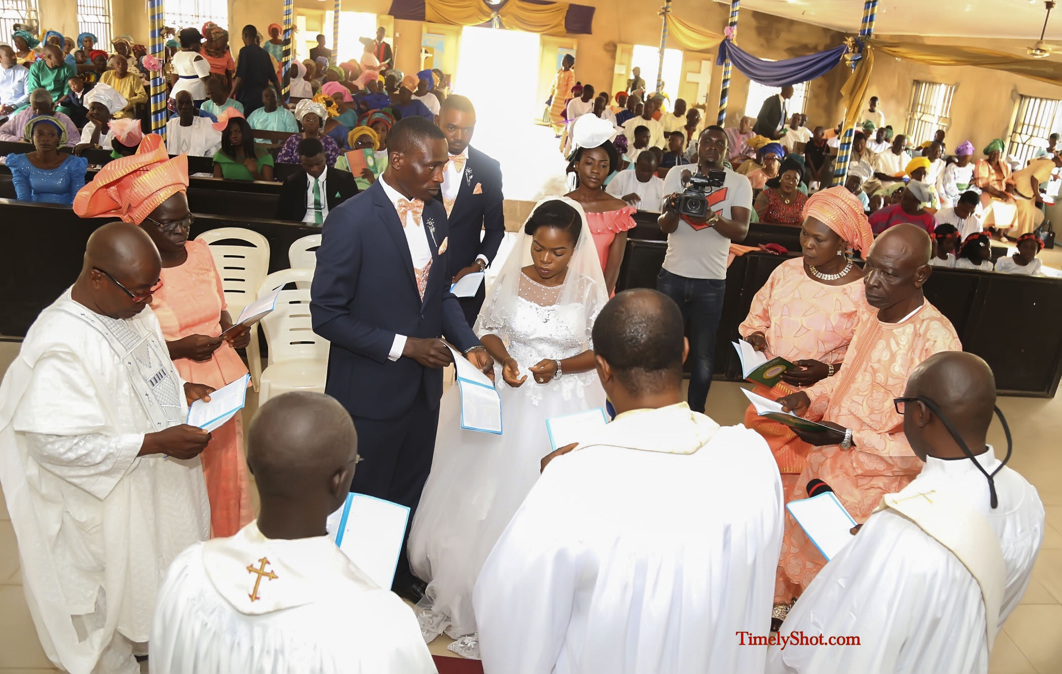 white wedding and church service