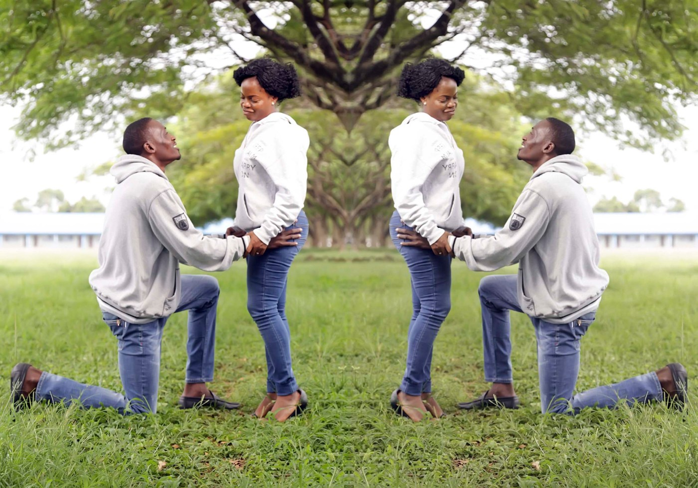 kneeling to propose marriage to a lady