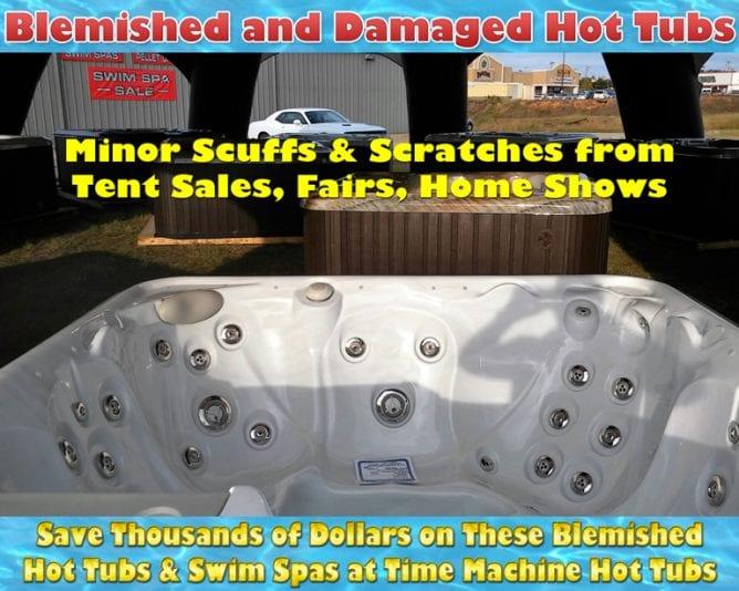 damaged, blemished, factory seconds, hot tubs, swim spas, discounts, sale, time machine hot tubs, longview, tyler, shreveport