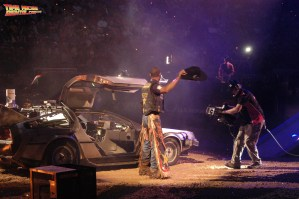 Valdiron de Oliveira tips his hat after exiting the DeLorean Time Machine rental car at the PBR Championships in Las Vegas, Nevada.