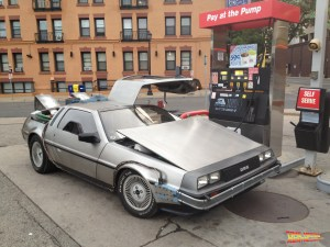 Renting the Back to the Future Car usually begins with a fill-up at the gas station while all systems are checked out for the road trip.