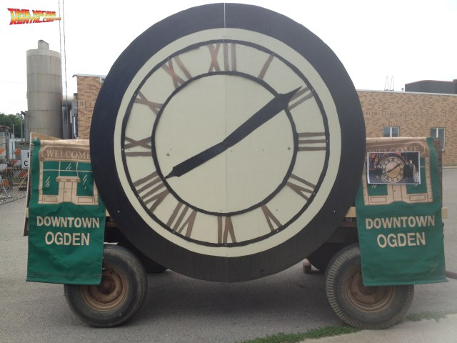 The 1885 Clock Tower stands on a truck ready for the arrival of the Back to the Future Car Rental