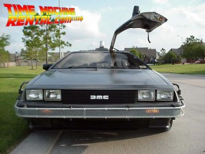 Iconic low front-end shot of the DeLorean Time Machine Rental.