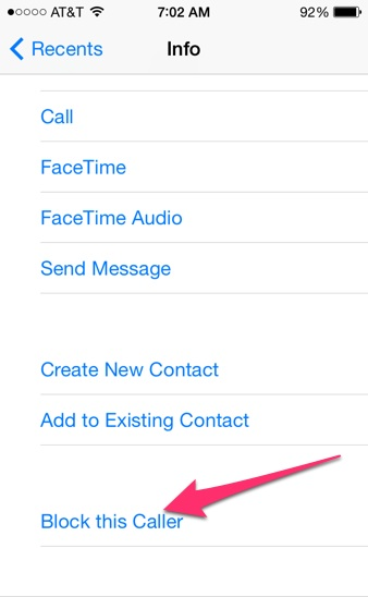 Block Caller iPhone
