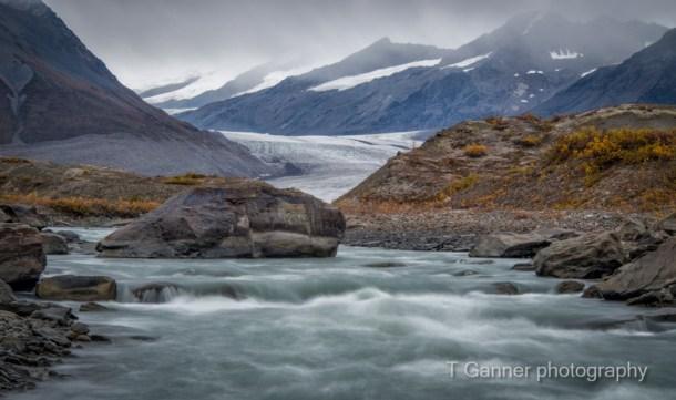 Maclaren Glacier, Denali Highway, Maclaren River Lodge, morraine, glacier, Maclaren River, Alaska, Alaska Range