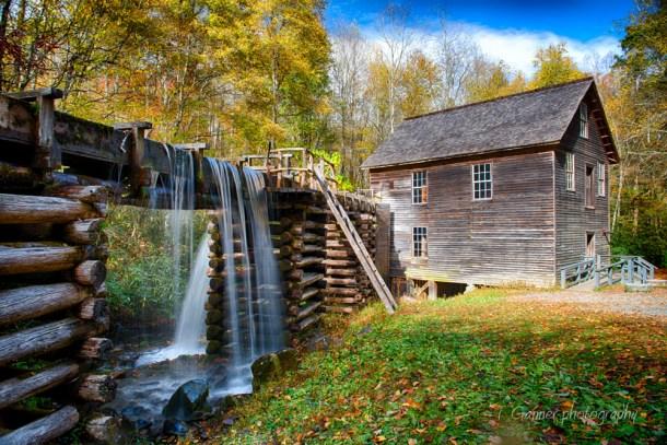 North Carolina, Brevard, Connestee Falls, autumn, foliage, waterfall, Great Smokey Mountains, Blue Ridge Parkway, gristmill