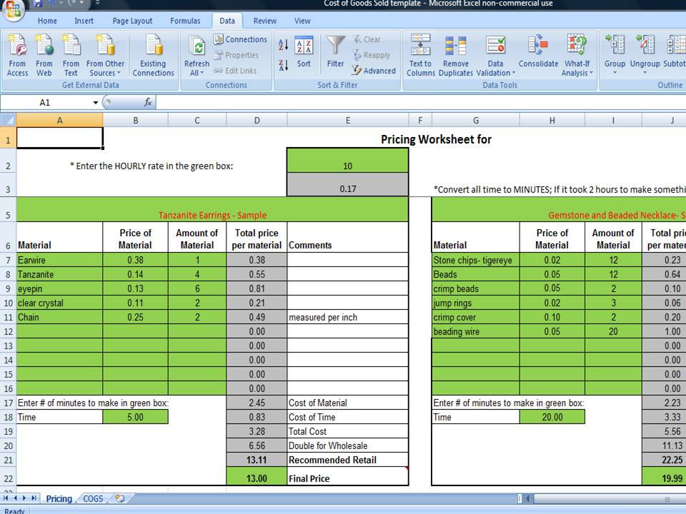 Cogs Worksheet Excel Template Cost Of Goods Sold