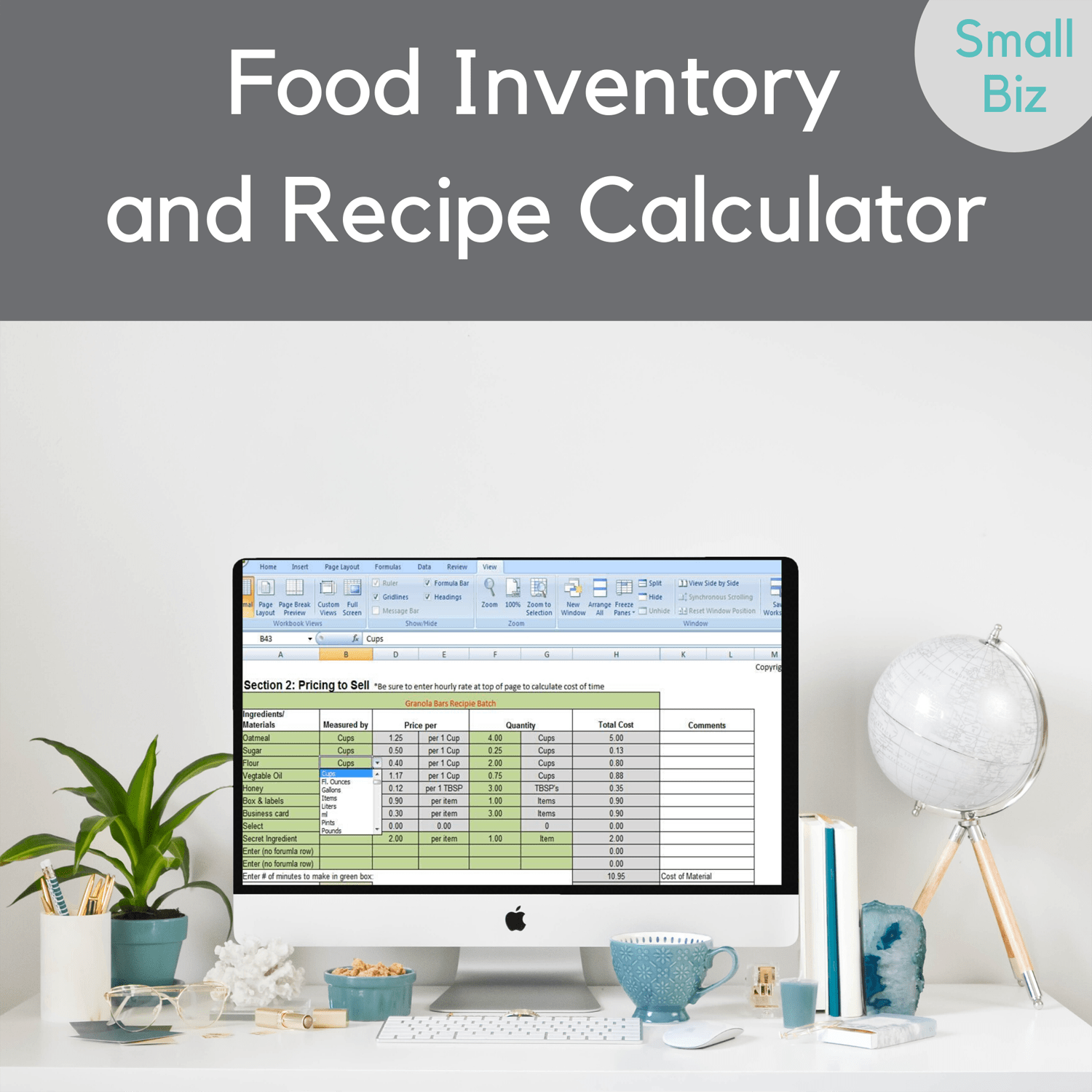 Food Inventory Spreadsheet Recipe Cost Calculator
