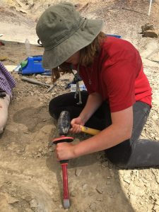 Charlotte Hohman sits using a mallet and chisel on rock surrounding bone at a field site in the desert