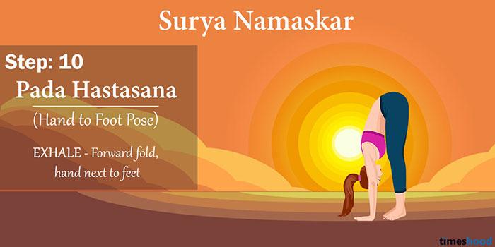 Pada Hastasana (Hand To Foot Pose) - Surya Namaskar Step 10 - Yoga for for weight loss