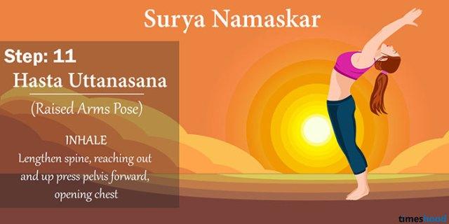 Hasta Uttanasana (The Raised Arms Pose) - Surya Namaskar Step 11, Yoga for weight loss