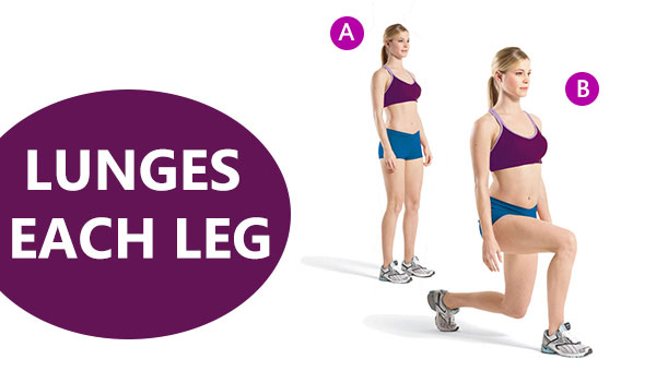 lunges each leg. 10 effective workout for weight loss.