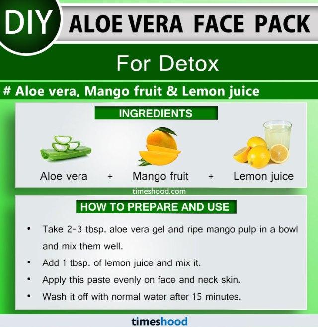 Aloe Vera Face Pack for Detox. Aloe vera, Mango fruit, and Lemon juice face mask diy remedy. How to use aloe vera plant on face skin care. 15 Aloe vera uses for skin remedies on Timeshood.com