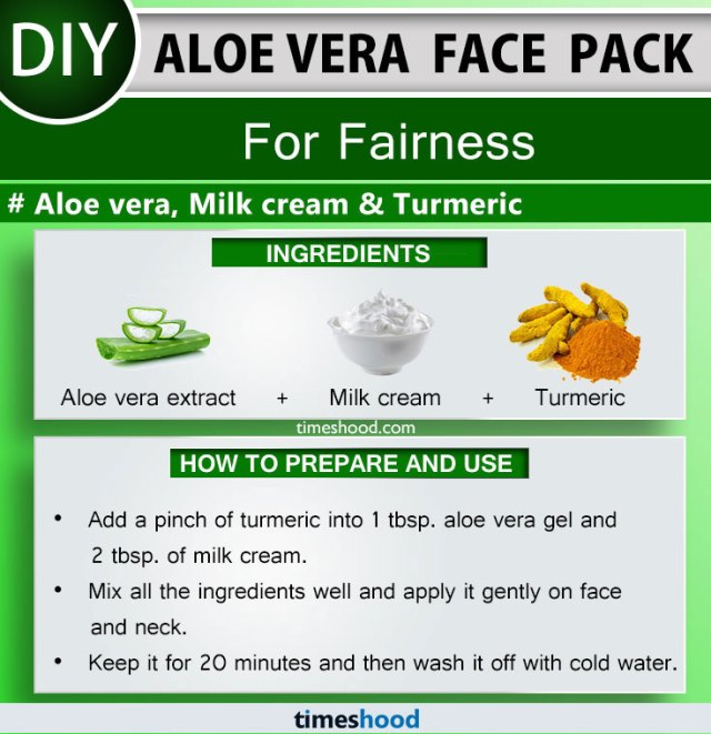 Aloe Vera Face Pack for Fairness. Aloe vera extract, Milk cream, and Turmeric. Aloe vera face mask diy remedy. 15 Aloe vera uses for skin face masks on Timeshood.com
