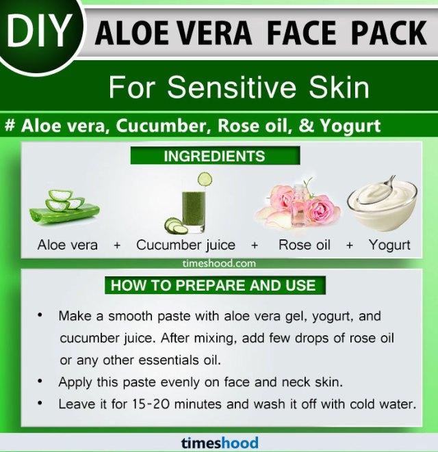 Aloe Vera Face Pack for Sensitive Skin. Aloe vera, Cucumber juice, Rose oil, and Yogurt face mask for skin care.  Aloe vera face mask diy. More 15 Aloe vera uses for skin remedies on Timeshood.com