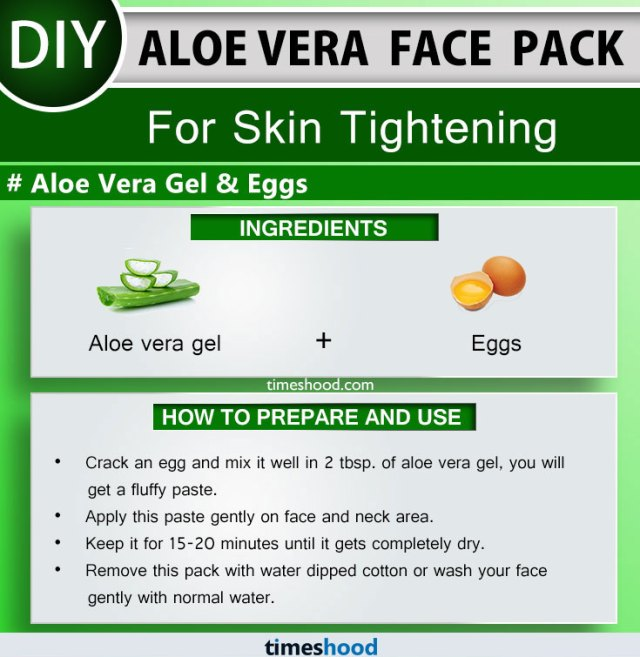 Aloe Vera Face Pack for Skin Tightening. Eggs and Aloe vera gel face pack remedy.  How to use aloe vera on face skin care? Check out 15 Aloe vera uses for skin face masks on Timeshood.com