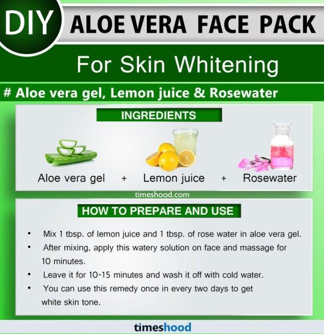 Aloe Vera Face Pack for Skin Whitening. Aloe vera gel, Lemon juice, Rosewater face mask remedy. Aloe vera uses for skin face masks. Aloe vera face mask diy. Check out 15 more aloe vera face pack on Timeshood.com