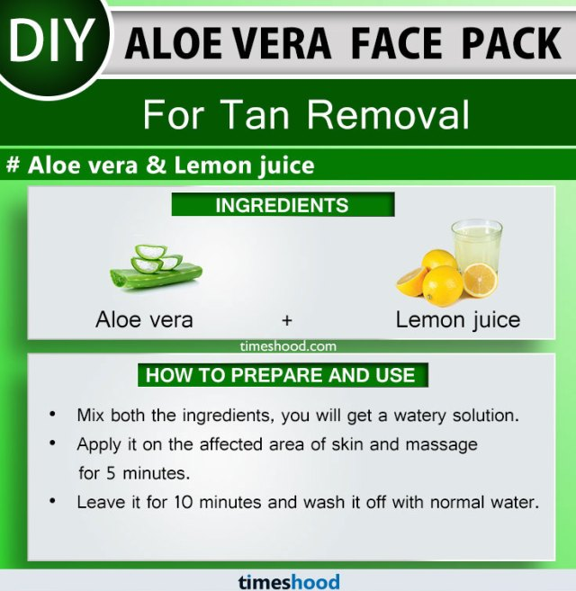 Aloe Vera Face Pack for Tan Removal. Aloe vera and Lemon juice face mask diy remedy. Aloe vera for skin face masks. 15 Aloe vera uses for skin remedies on Timeshood.com