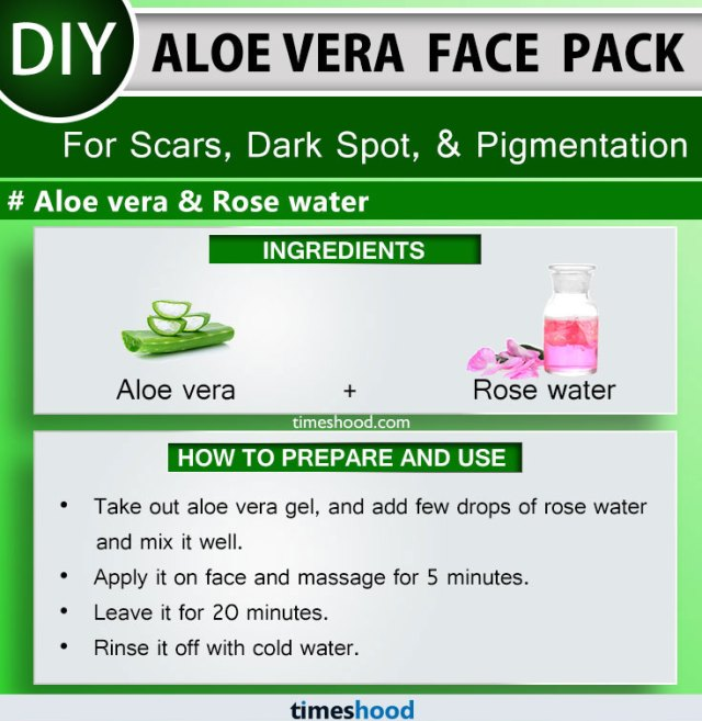 Aloe Vera Face Pack to Remove Scars, Dark Spot, and Pigmentation. Aloe vera, and Rose water face mask remedy. Aloe vera face mask diy acne scars. 15 Aloe vera for skin diy on Timeshood.com
