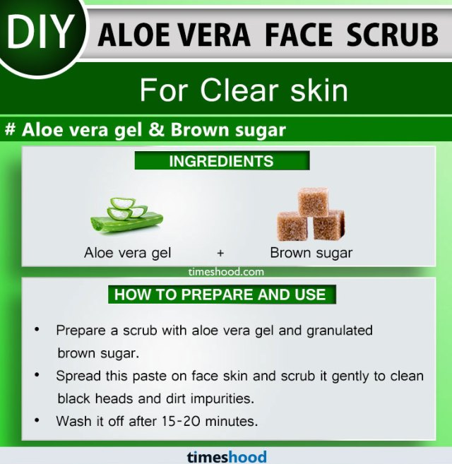 Aloe Vera Face Scrub for Clear skin. Brown sugar and Aloe vera gel for skin face mask diy. Check out How to use aloe vera plant for skin care. 15 Aloe vera face mask on Timeshood.com