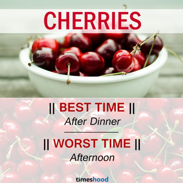 When to eat Cherries | Best and Worst time to eat Cherries and some common fruits | Right time to eat fruits | Best time to Eat Fruits in a day | via Timeshood.com