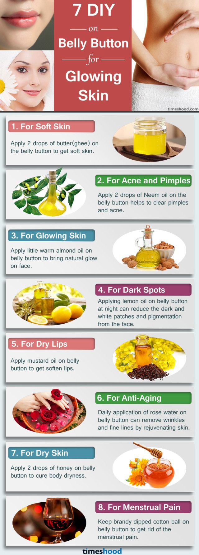 7 DIY Ingredients on Belly Button for glowing skin, Benefits of Putting Oil on Navel,  Tips for Glowing Skin, skin care tips anti aging, skin care tips for acne