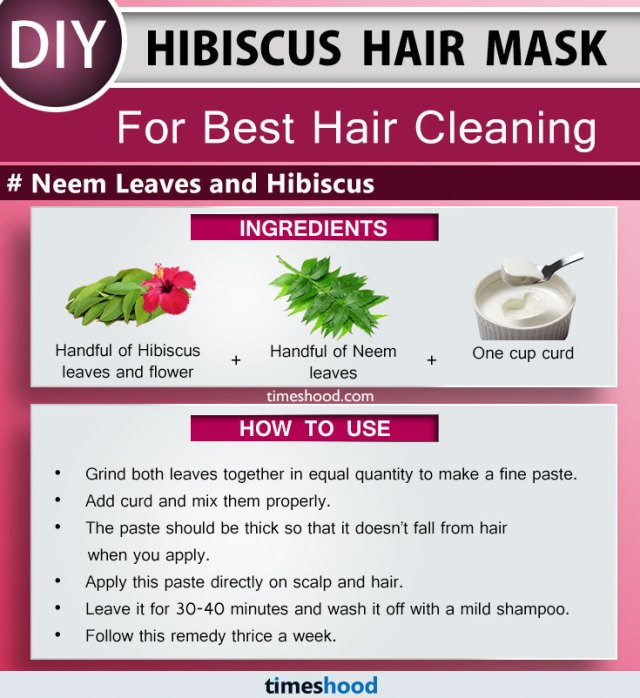 Hibiscus Hair Mask for hair cleaning. Neem leaves are one of the best remedies that deals with all types problem. Remedy to get rid of scalp infection. Best anti-dandruff remedy. DIY Hibiscus hair mask for to get rid of dandruff fast at home. How to use hibiscus for hair growth. | Timeshood.com