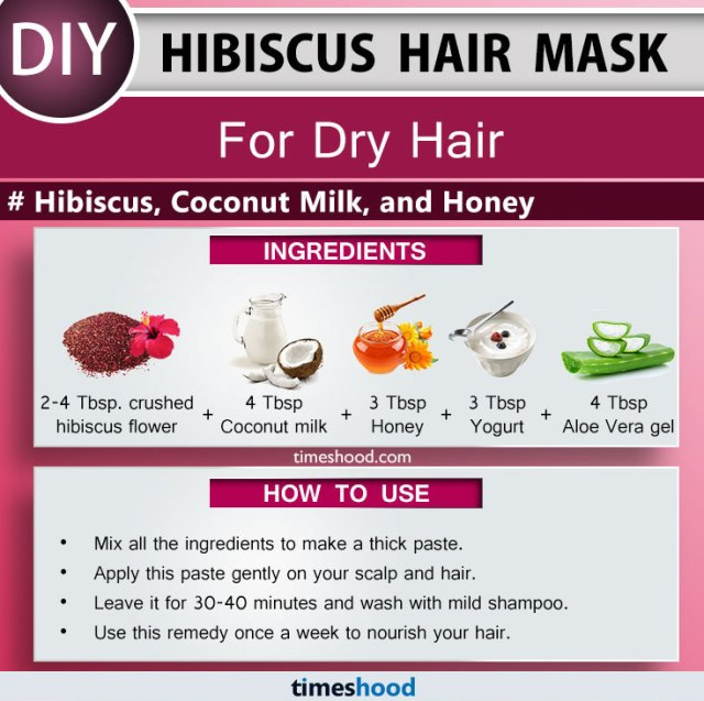 Hibiscus Hair Mask for Dry Hair. Hibiscus, Coconut Milk, and Honey. DIY Hibiscus hair mask for soft, shiny and beautiful hair. How to use hibiscus for hair. Tips for dry hair remedy at home. DIY Remedy to get soft and smooth hair. Best Remedy for hair growth and deep conditioning | Timeshood.com