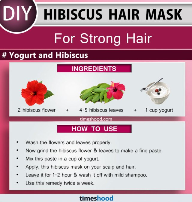 Hibiscus Hair Mask for Strong Hair. Yogurt and hibiscus hair mask, hydrate and nourish your hair and make them long and strong. DIY Hibiscus hair mask for soft, shiny and beautiful hair. How to use hibiscus for hair. Tips to control hair fall. DIY Hair fall remedy at home. | Timeshood.com