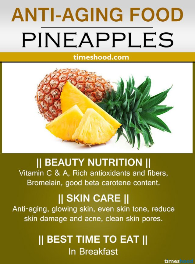Pineapple for anti-aging. Rich in anti-aging vitamins C & A. Remove wrinkles on face. Best Anti aging diet to look younger.