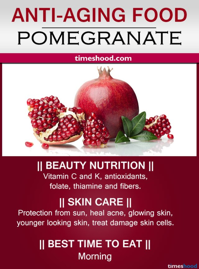 Pomegranate for skin care. Best Anti-aging foods to look younger. Anti-aging tips for wrinkles free skin. Best food for skin care.