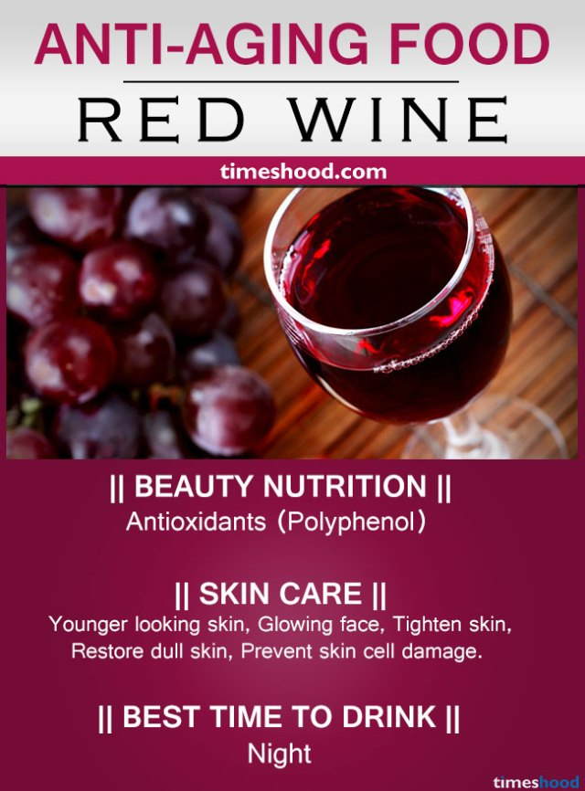 Red wine for anti-aging. Anti-aging drinks for Younger looking skin and best drink for glowing face that slows aging.