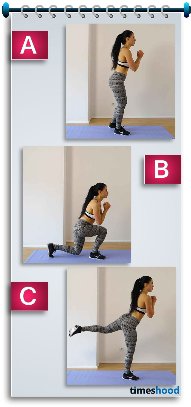 To look hot and sexy, you need to follow some body shape workouts for bigger butt, toned thigh and sexy legs that can change your look totally. Lunge kickback exercise stretch and toned your thigh, hip and legs muscles and provide you sexy look.