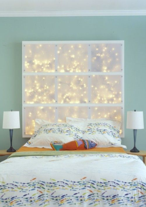 Cozy bed back lightening decoration ideas for Christmas. Christmas home and room decoration ideas.