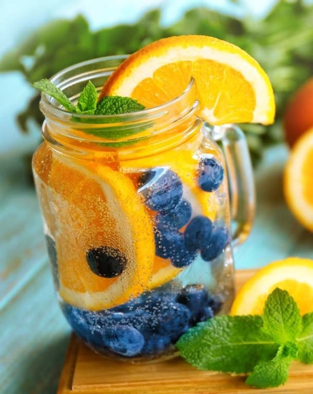 Blueberry orange detox water. Get clear and acne free skin with detox water. Regular consumption of detox water can help in weight loss and clear skin too. detox water recipes. blueberries and orange detox water for clear skin.