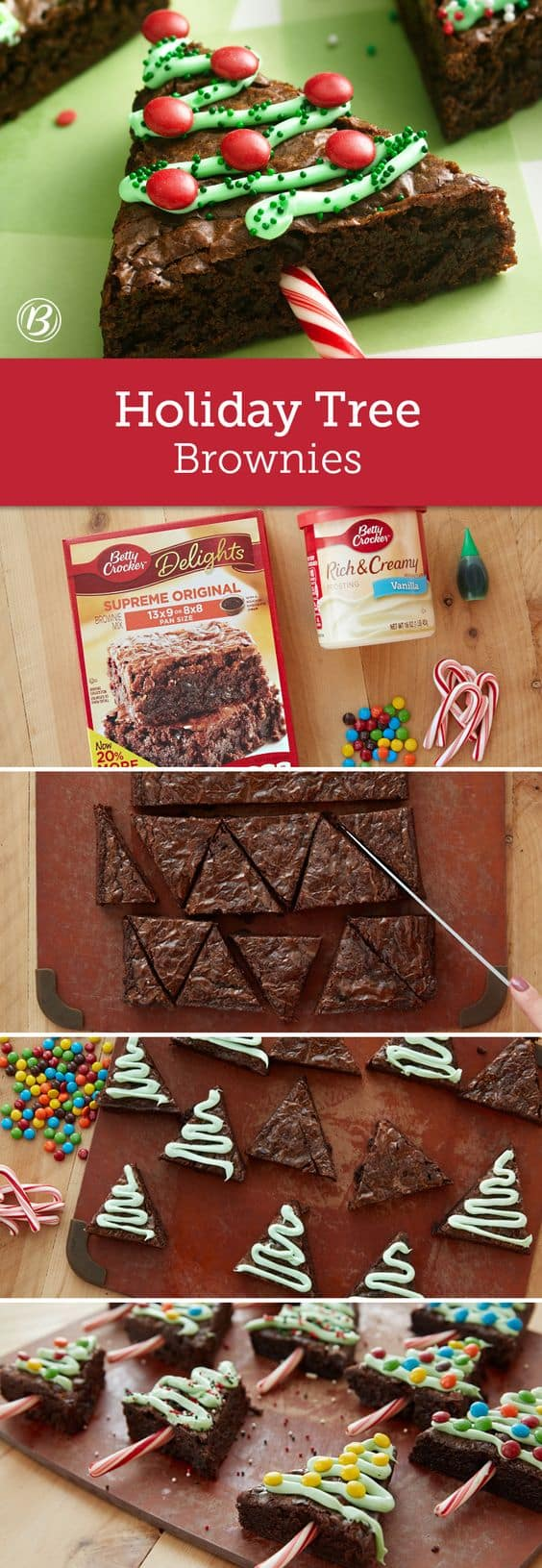 Try this Christmas tree brownies on special eve and parties. DIY recipes for Christmas. Find more 15 cookies recipes on timeshood.com