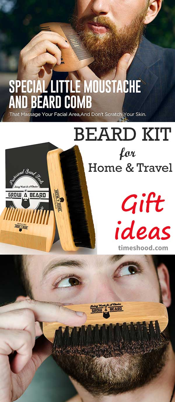Beard brush and comb set. awesome gift for beard men. Best Bamboo Beard Kit for Home and Travel.