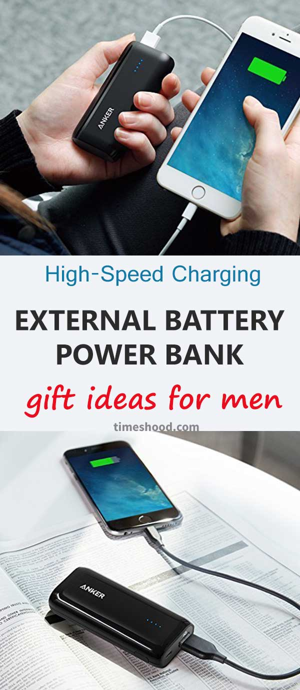 Portable charger with high-speed charging power. affordable and usable gift item for men. Christmas gift ideas. Thanksgiving gift ideas.