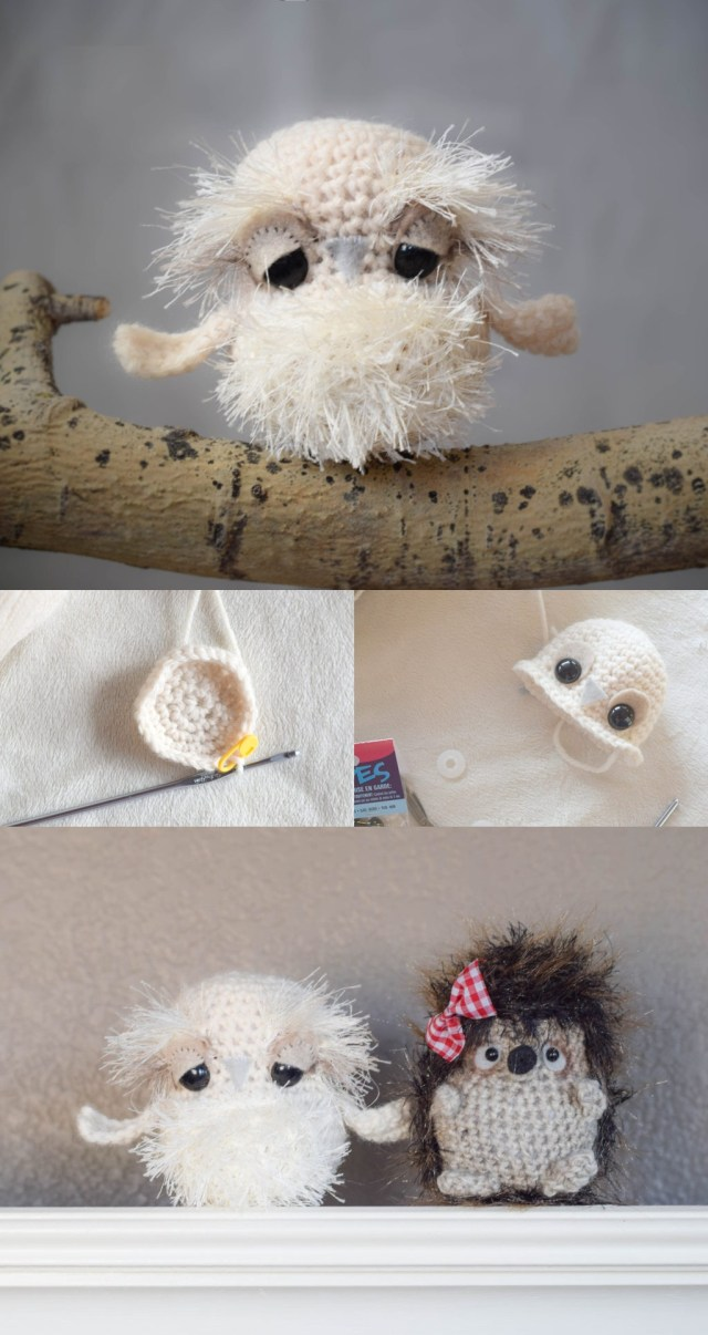 Baby snow owl crochet toy pattern. Cute crochet baby owl toys pattern. Fluffy owl crochet pattern for children to play with.