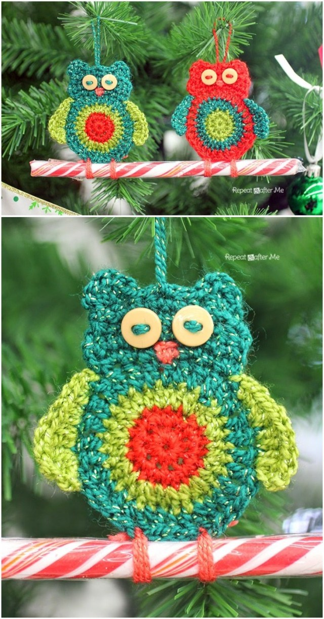 Crochet owl candy cane ornaments. Free crochet owl pattern. Owl ornaments to decorate your Christmas tree and indoor plant.