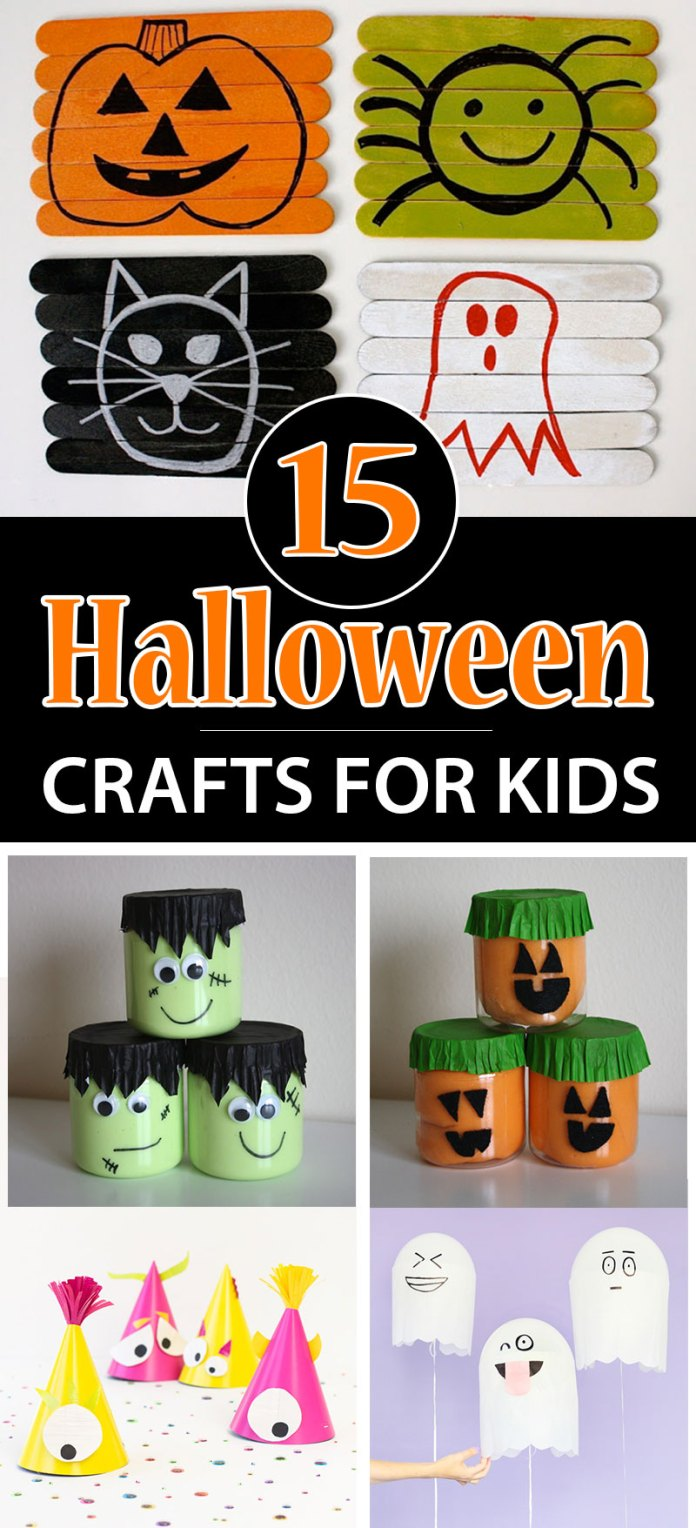 Explore some cute DIY Halloween crafts ideas for kids to enjoy with and improve motor skills. Find easy 15 Halloween crafts ideas for kids to decorate party and classrooms.