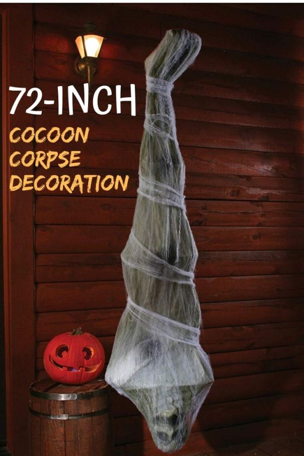 Hang this 72-inch cocoon corpse Halloween decoration for party. One of the best reviewed spooky Halloween decorations on Amazon.