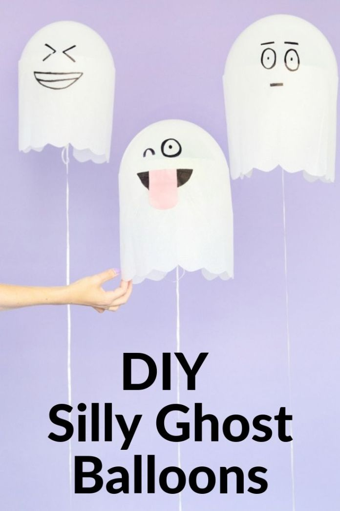 Spooky and cute DIY Silly Ghost Balloons for kids. Get more simple and easy ideas for kids to decorate Halloween party.