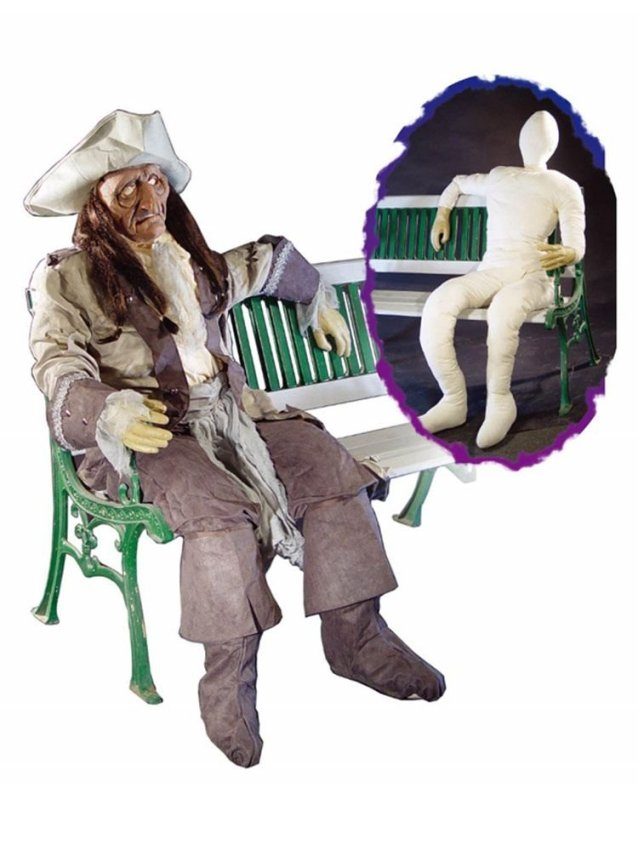 This 6 foot life-size poseable dummy with Hands you can dress in haunted character on Halloween. Cloth body with real looking hands is perfect to spook your outdoor on Halloween party.