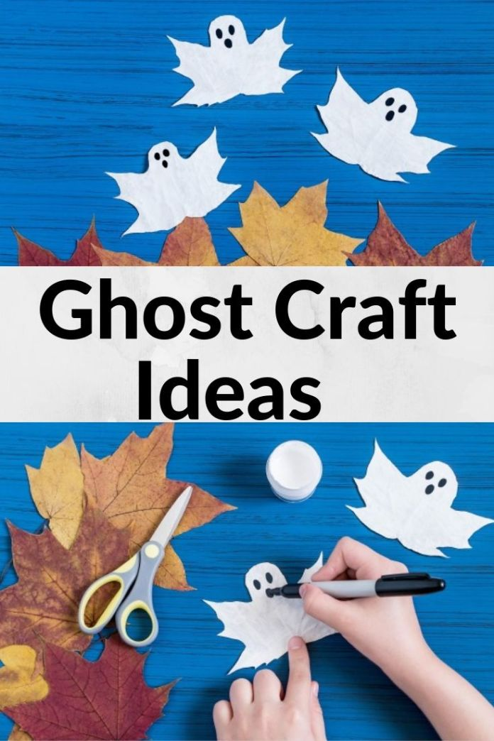 A fun Halloween ghost craft for the kids to make this fall even without paper. Find 15 more easy craft ideas for party decoration.