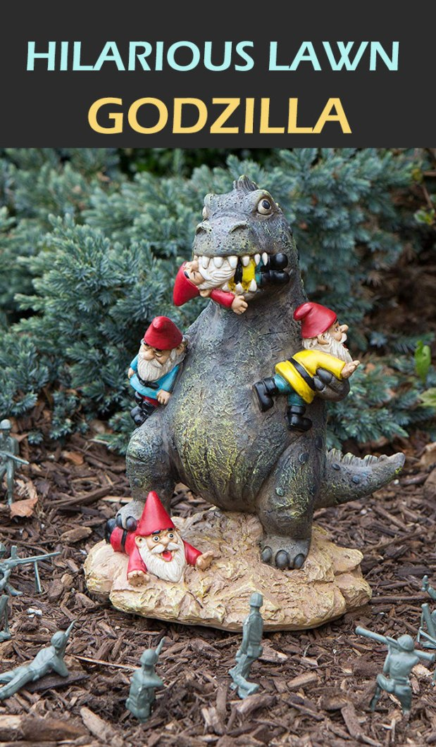 Spice up your garden on Halloween with this hilarious lawn Godzilla. This eye-catching garden statue is a fun accent to your garden, backyard, or indoor space. Best Halloween garden accessories.