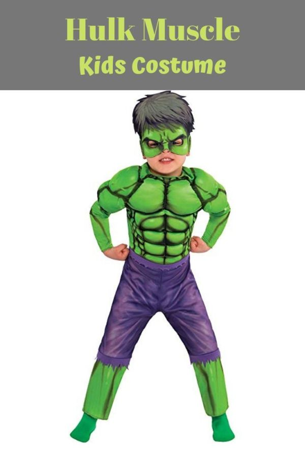 This Hulk Muscle Costume for boys is one incredible look! Boys Hulk Muscle Costume features a padded muscular chest and includes a plastic Hulk mask. Get 10 more Avengers costume ideas for kids on Halloween.
