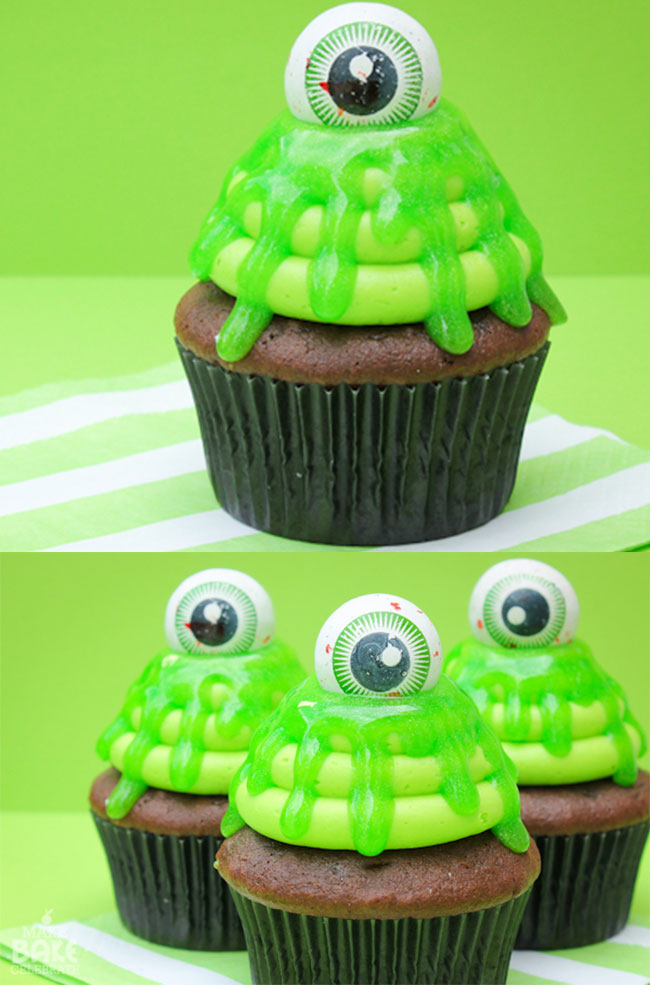 Slimy Cupcakes - the perfect Halloween treat! Easy, fun, and spooky Halloween cupcakes recipes. Amazing Halloween Cupcake Recipes Ideas.