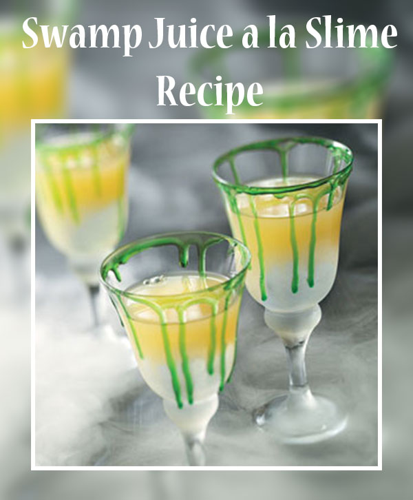 Swamp juice with slime. Holiday recipes ideas. Funny Halloween Drinks ideas for Kids. Happy Halloween!